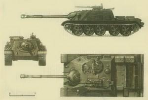 Все любители бронетехники могут оценить СУ-122-54 в трех проекциях